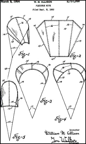 Sled kite construction dt online william m allisons 1956 flexible kite patent ccuart Image collections