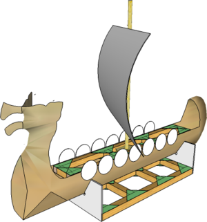 Viking Longship from A3 card