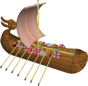 Viking Longship with sail and shields