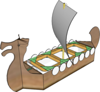 Model Longship based on milk carton